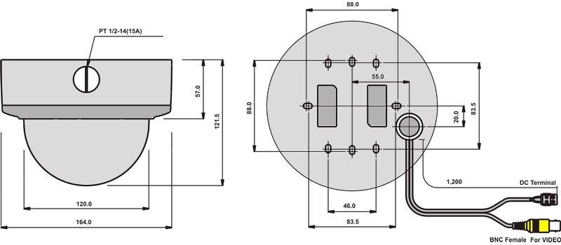 Размеры видеокамеры VDA110S-